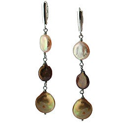 DaVonna Silver Pink Brown and Gold Coin Pearl Drop Earrings (10-11 mm)