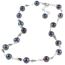 DaVonna Silver Black FW Pearl Tin Cup Necklace (7-7.5 mm)