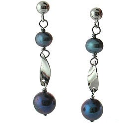 DaVonna Silver Black FW Pearl Tin Cup Earrings (7-7.5 mm)