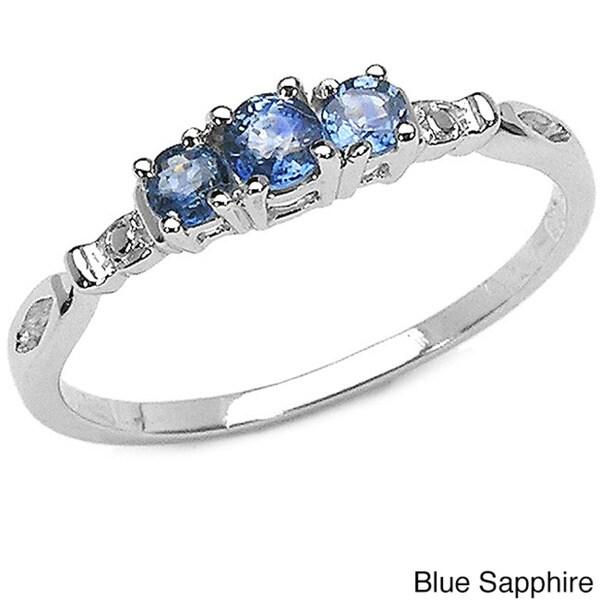 Malaika Sterling Silver Sapphire 3-stone Ring