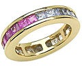 Malaika 14k Goldplated Silver Sapphire Eternity Band