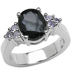 Malaika Sterling Silver Sapphire and Tanzanite Ring (Size 7)