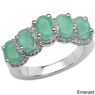 Malaika Sterling Silver 5-gemstone Ring