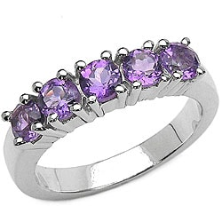 Malaika Sterling Silver Amethyst 5-stone Ring