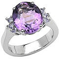 Malaika Sterling Silver Oval Amethyst and Tanzanite Ring