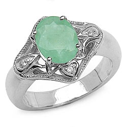 Malaika Sterling Silver Oval Emerald and White Topaz Ring
