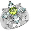 Malaika Sterling Silver Peridot and Blue Topaz Flower Ring (Size 7)