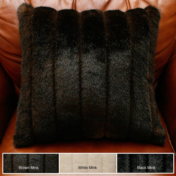 Aurora Home Faux Mink Fur Throw Pillow (Set of 2)