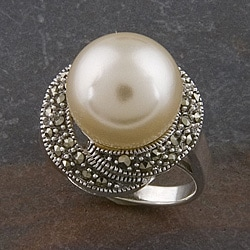 Sterling Silver Simulated Fresh Water Pearl and Marcasite Ring (12 mm) (Thailand)