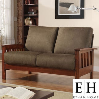 ETHAN HOME Hills Collection Oak and Olive Loveseat