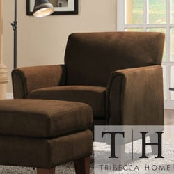 TRIBECCA HOME Uptown Mocha Microfiber Modern Arm Accent chair