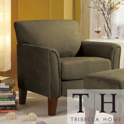TRIBECCA HOME Uptown Sage Microfiber Modern Arm Accent Chair