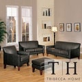 TRIBECCA HOME Uptown Dark Brown Faux Leather 4-piece Living Room Set