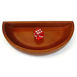 Seven-inch Brown Classic Semicircular Stained Wooden Craps Dice Boat