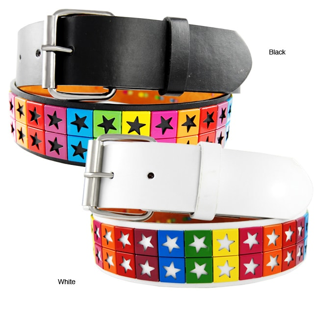 H2W Men's Multicolor Star-studded Cut-out Belt