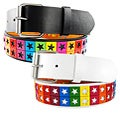 H2W Men's Multicolor Star-studded Cut-out Belt