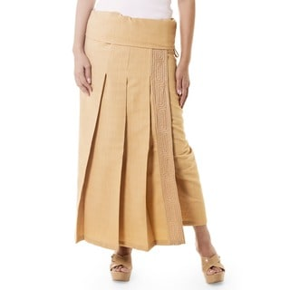 Thai Sand Color 100% Cotton Pleated Turn Over Waist Drawstring Tie Neutral Embroidered Wraparound Womens Skirt (Thailand)