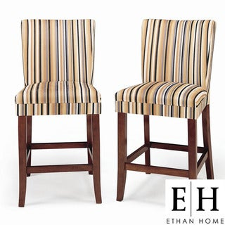 ETHAN HOME Parson Striped Upholstered Pub Stool (Set of 2)