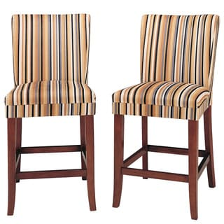 TRIBECCA HOME Parson Striped Upholstered Pub Stools (Set of 2)