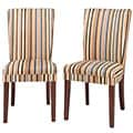Parson Striped Upholstered Dining Chairs (Set of 2)