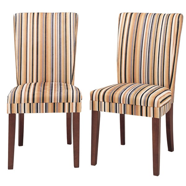 TRIBECCA HOME Parson Striped Upholstered Dining Chairs (Set of 2)