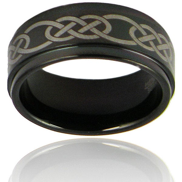Crucible Men's Black-plated Tungsten Lasered Celtic Knot Band (9 mm)