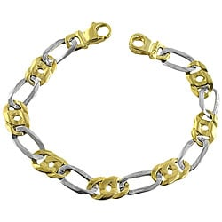 Fremada 14k Two-tone Gold Men's Figaro Bracelet
