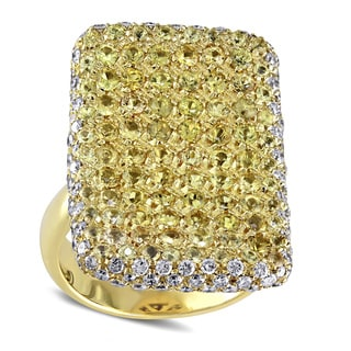 Miadora 18k Gold 1 4/5ct TDW Diamond Yellow Sapphire Ring (I-J, I2-I3)