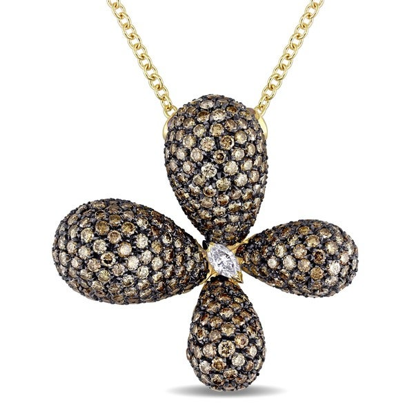 Miadora 18k Gold 9ct TDW Brown and White Diamond Flower Necklace (GH, SI)