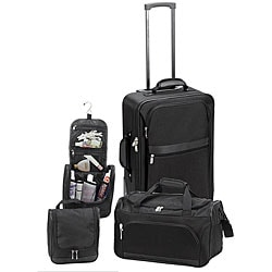 The Weekender 3-piece Black Carry-on Luggage Set