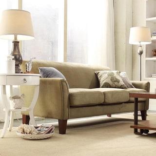 TRIBECCA HOME Uptown Sage Microfiber Suede Modern Sofa