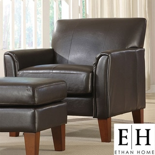 ETHAN HOME Uptown Dark Brown Faux Leather Accent Chair