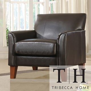 TRIBECCA HOME Uptown Dark Brown Faux Leather Accent Chair