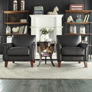 TRIBECCA HOME Uptown Modern Dark Brown Faux Leather Accent Chair