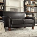 ETHAN HOME Uptown Dark Brown Faux Leather Modern Loveseat