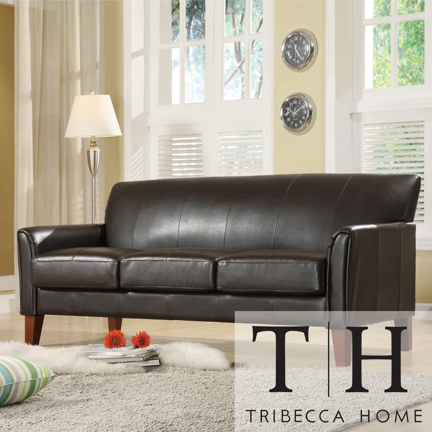 TRIBECCA HOME Uptown Dark Brown Faux Leather Modern Sofa at Sears.com