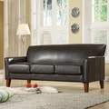 ETHAN HOME Uptown Dark Brown Faux Leather Modern Sofa
