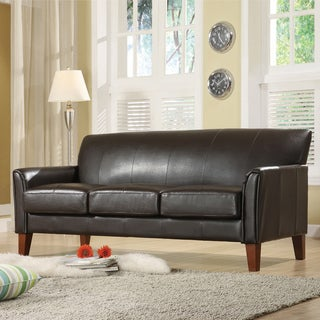 TRIBECCA HOME Uptown Dark Brown Faux Leather Modern Sofa