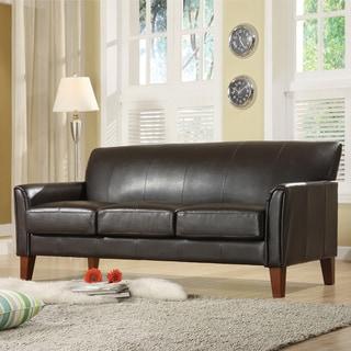 TRIBECCA HOME Uptown Dark Brown Faux Leather Modern Sofa