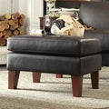 ETHAN HOME Uptown Dark Brown Faux Leather Ottoman