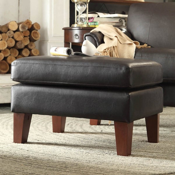 TRIBECCA HOME Uptown Dark Brown Faux Leather Ottoman