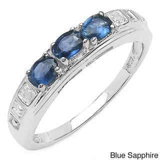 Malaika Sterling Silver Sapphire and Diamond Accent Ring