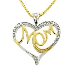 18k Goldplated Silver 'Mom' Heart Necklace