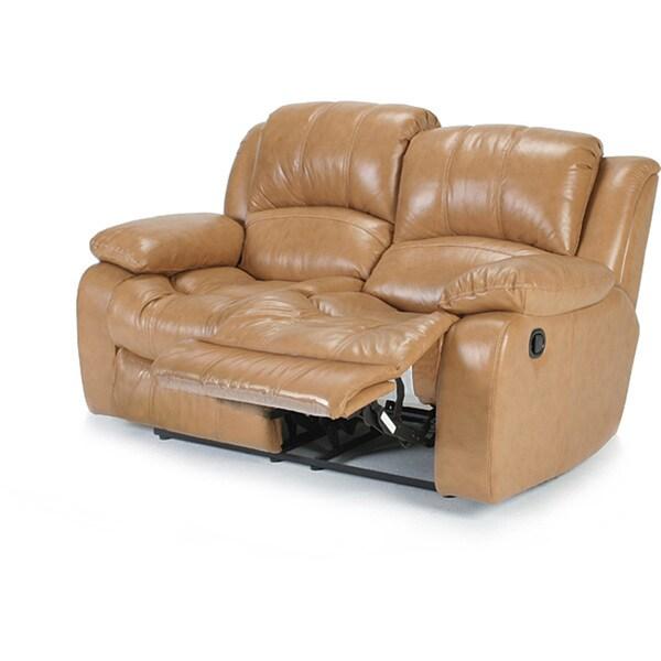 Imperia Reclining Camel Premium Italian Leather Loveseat