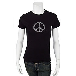 Crazy Haute Women's Rhinestone Small Peace T-shirt
