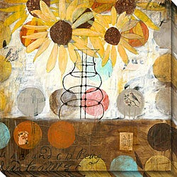 Judy Paul 'Flowers & Circles I' Oversized Canvas Art