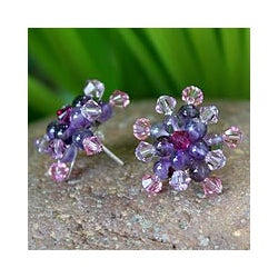 Amethyst 'Lilac Star Blossom' Earrings (Thailand)