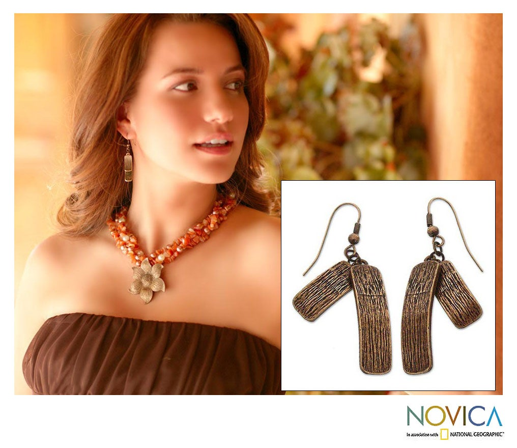 Dangle 'Bronze Goddess' Earrings (Peru)