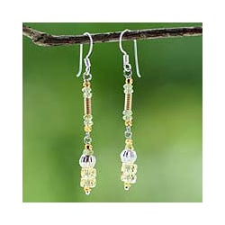 24k Gold 'Sweet Beauty' Citrine/ Peridot Earrings (Thailand)
