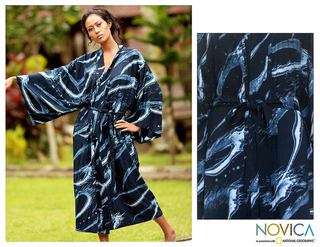 'Sea of Shadows' Women's Batik Robe (Indonesia)